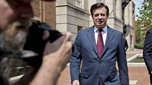 Paul Manafort, former campaign manager for Donald Trump, exits the District Courthouse after a motion hearing in Alexandria, Virginia, on Friday, May 4, 2018.