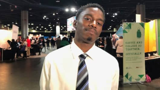 Elijah Relaford, 22, was one of some 5,000 job seekers in Atlanta Thursday at the 100,000 Opportunities Initiative hiring fair.