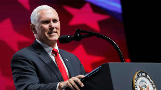 U.S. Vice President Mike Pence speaks at a National Rifle Association (NRA) convention in Dallas, Texas, U.S. May 4, 2018.