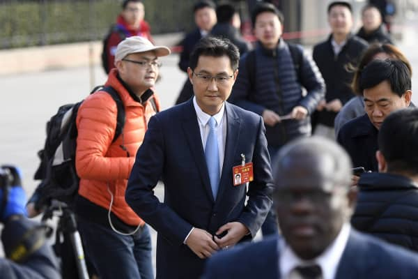 Tencent Inc. CEO Pony Ma Huateng arrives at the Great Hall of the People to attend the opening ceremony of the Fifth Session of the 12th National People's Congress (NPC) on March 5, 2017 in Beijing, China.