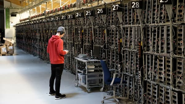 Computers in a warehouse near one in Iceland where Bitcoin-mining machines were stolen. Iceland's cheap electricity and chilly weather, which helps keep the computers cool, have made it a premier location for cryptocurrency mining.