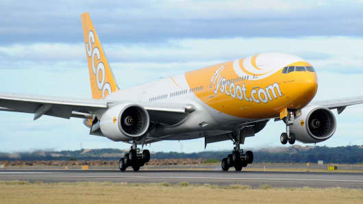 Scoot Airlines, Boeing 777 first flight from Singapore to Sydney international airport in Sydney, Australia.