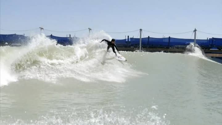 Catching a wave at Surf Ranch.