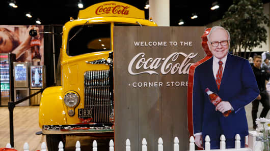 The Coca-Cola booth at the 2018 Berkshire Hathaway Annual Shareholder's Meeting in Omaha, NE, on May 5, 2018.