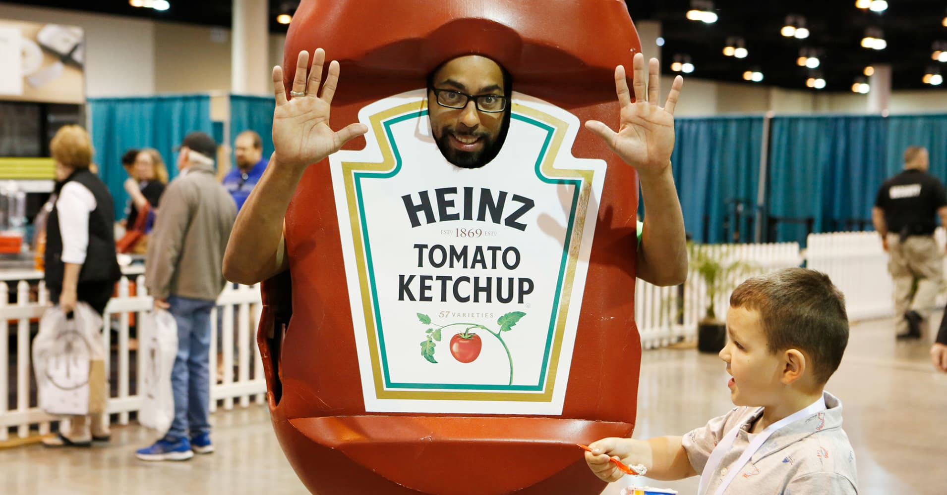 A Heinz Ketchup mascot at the 2018 Berkshire Hathaway Annual Shareholder's Meeting in Omaha, NE.