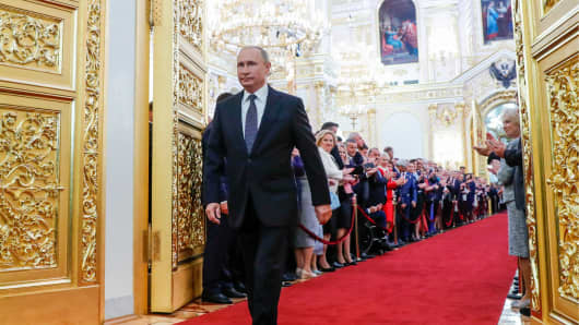 President-elect Vladimir Putin ahead of being sworn-in as President of Russia at St Andrew's Hall of the Moscow Kremlin.