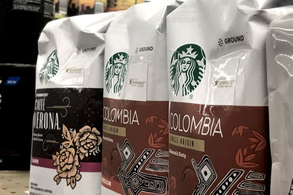 Starbucks branded items for sale at a local supermarket, in Philadelphia, PA.