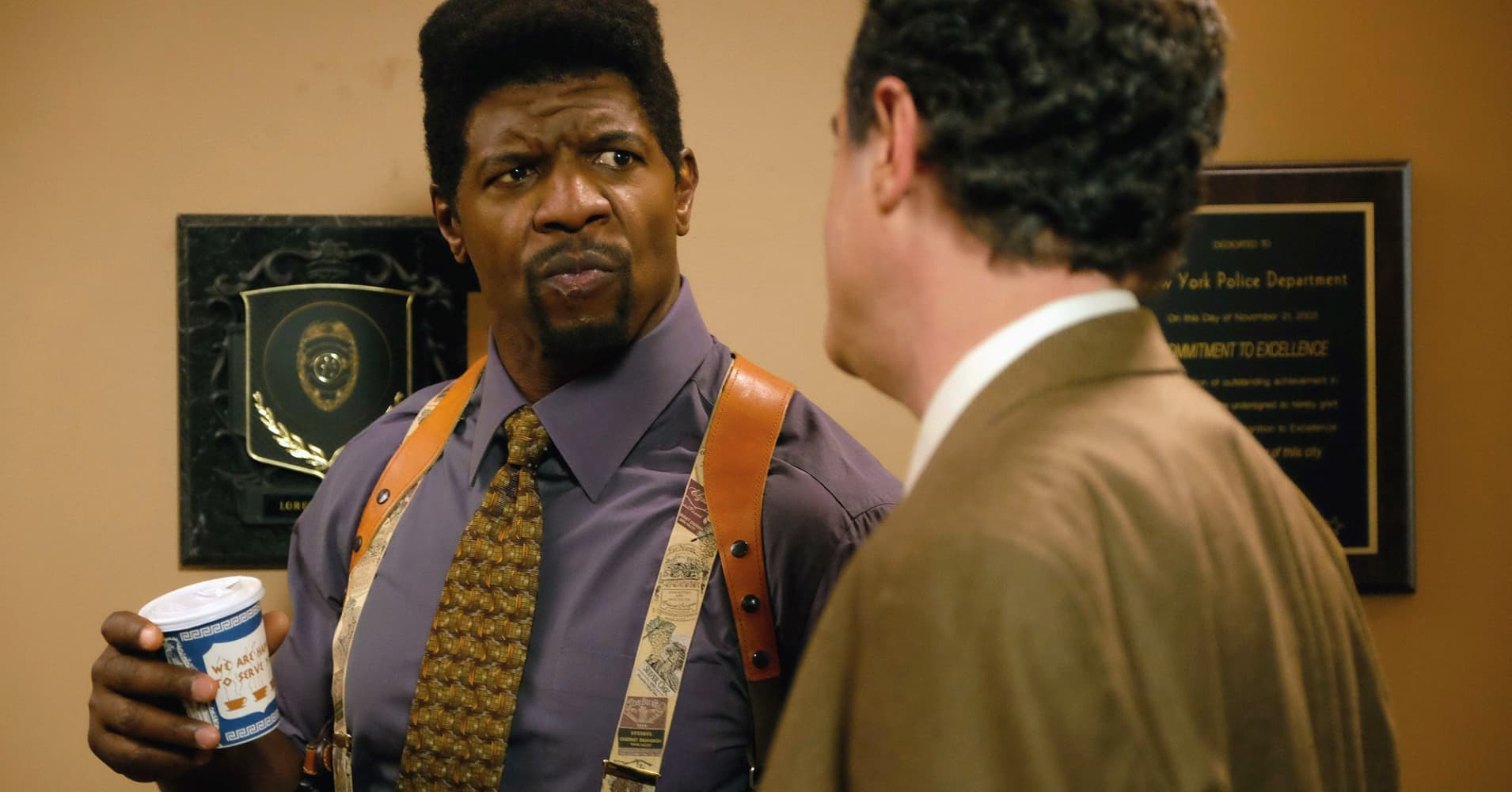 Brooklyn Nine-Nine- 'Terry Kitties' Episode 319 -- Pictured: (l-r) Terry Crews as Terry Jeffords, Matt Besser as Holderton