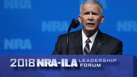 Lt. Colonel Oliver North at the NRA Annual Meeting & Exhibits on May 4, 2018.