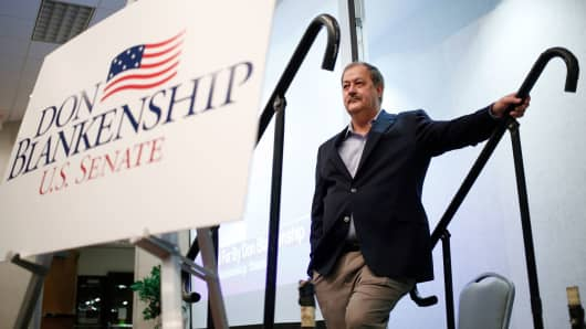 Former Massey Energy CEO Don Blankenship, Republican U.S. Senate candidate from West Virginia, waits to speak during a town hall campaign event in Huntington, West Virginia, U.S., on Thursday, Feb. 1, 2018.