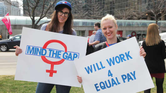 Women rally to demand equal pay for women and an end to the wage gap .