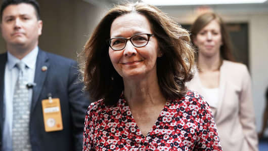 Gina Haspel, nominee to be director of the CIA, visits the Hart Senate Office Building for meetings with senators May 7, 2018 on Capitol Hill in Washington, DC.