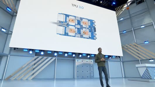 Google CEO Sundar Pichai talks about the company's third-generation artificial intelligence chips.