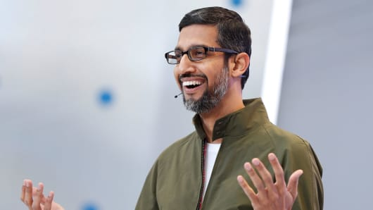 Google CEO Sundar Pichai spoke on stage at Google's I / O Annual Developer Conference in Mountain View, California, May 8, 2018