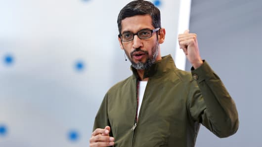 Google CEO Sundar Pichai speaks on stage during the annual Google I / O developer conference in Mountain View, California, May 8, 2018.