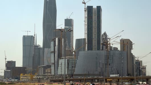 Towers under construction at the King Abdullah Financial District in the Saudi capital Riyadh.