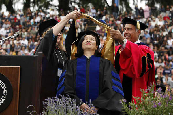 Jenny Ming receiving honorable degree of Doctor of Humane Letters from San Jose State University