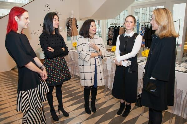 Hannah Bibb, Kristin Ming, Jenny Ming, Esty Ottensoser, and Laura Perry socialize at Barneys New York on January 29, 2016 in San Francisco, California
