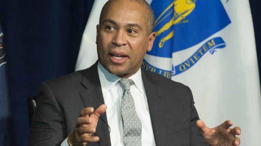 Former Massachusetts Governor Deval Patrick speaks on a panel on leadership during times of crisis at the Newseum in Washington, DC, February 22, 2016.