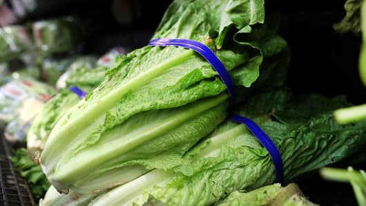Romaine lettuce is displayed on a shelf at a supermarket in San Rafael, California.