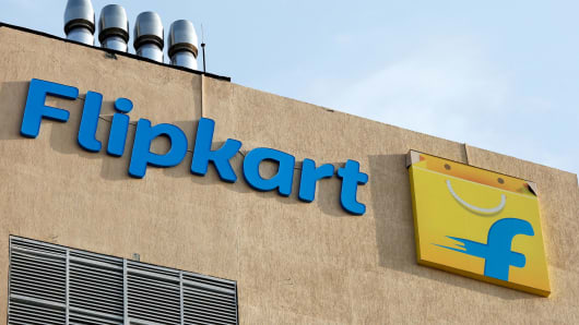 The logo of Flipkart is seen on the company's office in Bengaluru, India, May 9, 2018.