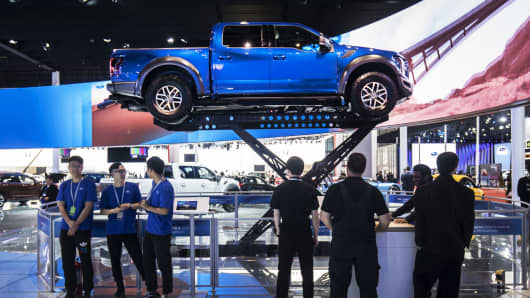 A Ford Motor Co F 150 Raptor Pick Up Truck Stands On Display At