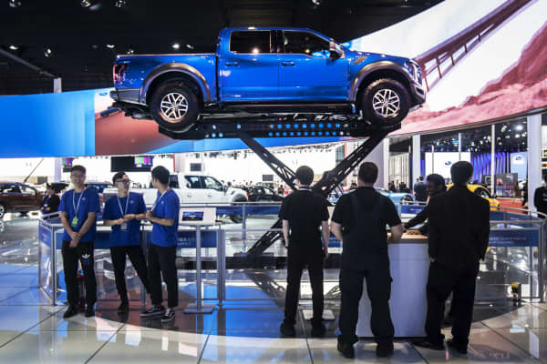 A Ford Motor Co. F-150 Raptor pick up truck stands on display at the Auto Shanghai 2017 vehicle show in Shanghai, China.