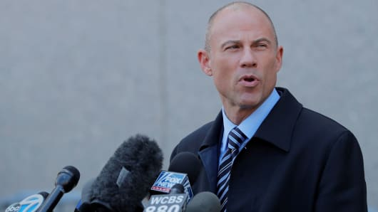 Stormy Daniels' attorney Michael Avenatti leaves federal court in the Manhattan borough of New York, U.S., April 26, 2018.
