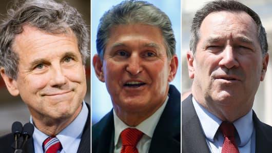 Sen. Sherrod Brown (D-OH), Sen. Joe Manchin (D-WV) and Sen. Joe Donnelly (D-IN).