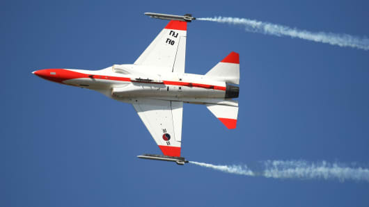 A South Korean Air Force T-50 trainer jet, developed by Korea Aerospace Industries Ltd. and Lockheed Martin Corp.