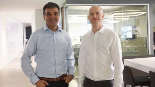 Coinbase president and chief operating officer, Asiff Hirji (left), with Coinbase CEO and co-founder Brian Armstrong