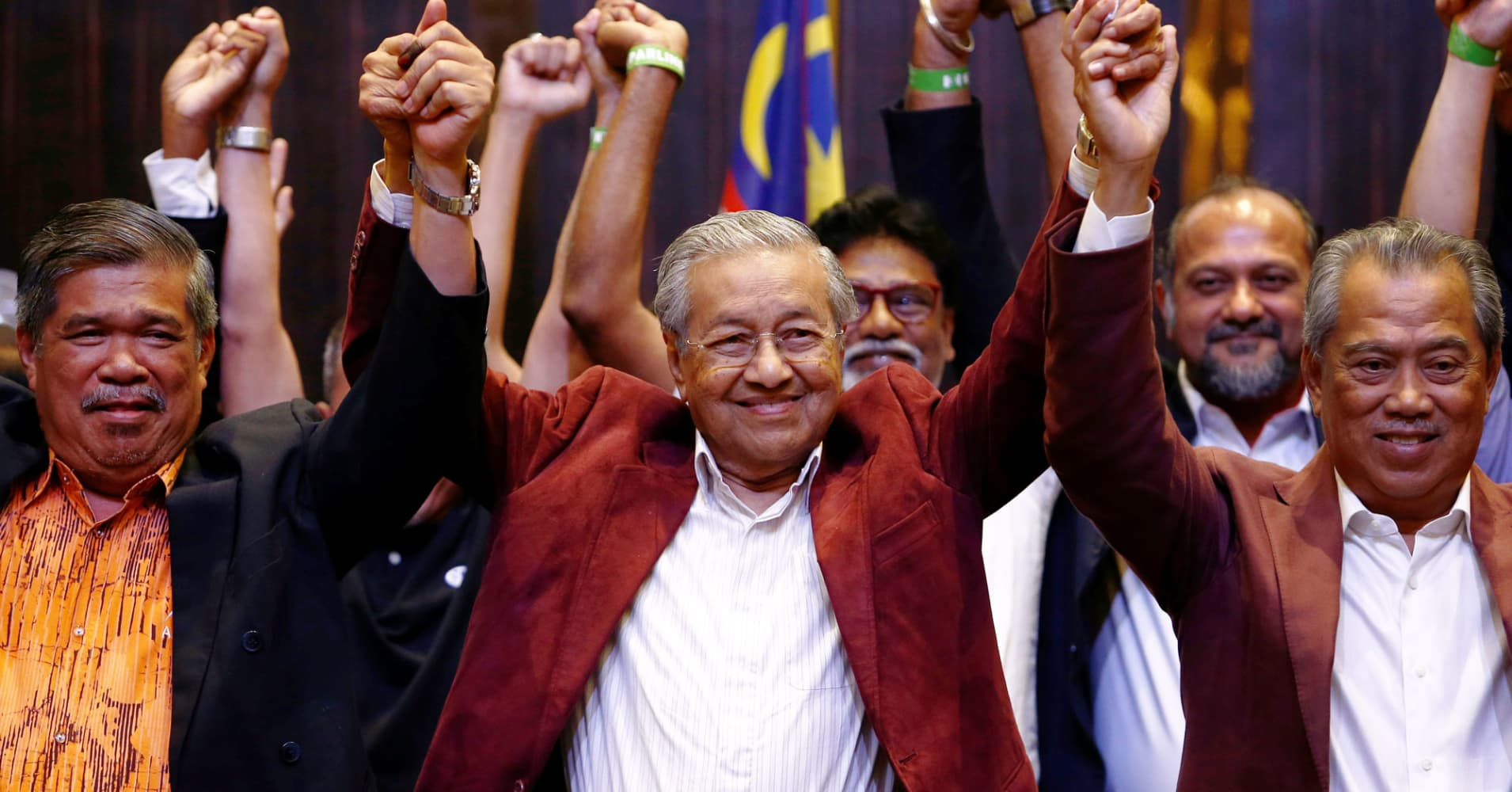 Mahathir Mohamad, former Malaysian prime minister and opposition candidate for Pakatan Harapan (Alliance of Hope) reacts during a news conference after general election, in Petaling Jaya, Malaysia, May 9, 2018.