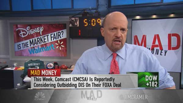Cramer defends Disney and Walmart's 'bold' investments after stocks fall on ESPN, Flipkart news