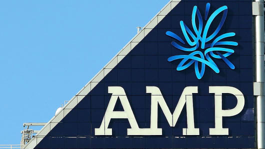 The AMP logo is seen on the AMP building on August 20, 2015 in Melbourne, Australia.
