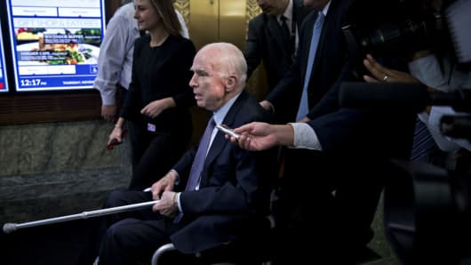 John McCain speaking to members of the media while sitting in a wheelchair after a hearing in Washington DC on Thursday, Nov 30, 2017.