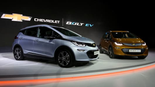 General Motors' Chevrolet Bolt stand on display during the press day of the Seoul Motor Show in Goyang, South Korea, on Thursday, March 30, 2017.
