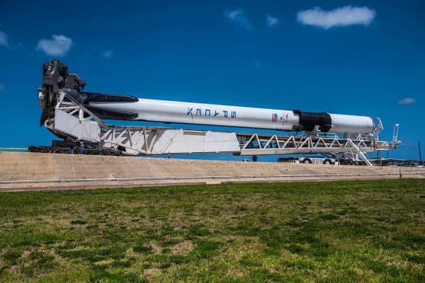 "The new ""Block 5"" variation of SpaceX's Falcon 9 rocket, rolling out to launchpad 39A at Kennedy Space Center, Florida."