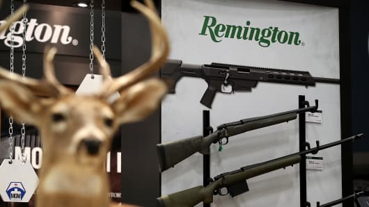 Remington rifles are displayed during the NRA Annual Meeting & Exhibits at the Kay Bailey Hutchison Convention Center on May 5, 2018 in Dallas, Texas.