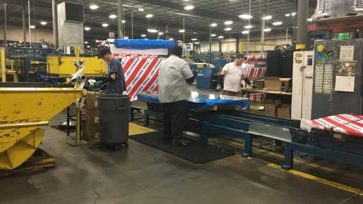 Steel is cut for a variety of end uses at Majestic Steel in Bedford Heights, Ohio.