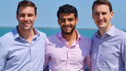 Michael Kazley (l), Ali Hassan (c) and Chris Matta, co-founders of Crescent Crypto.