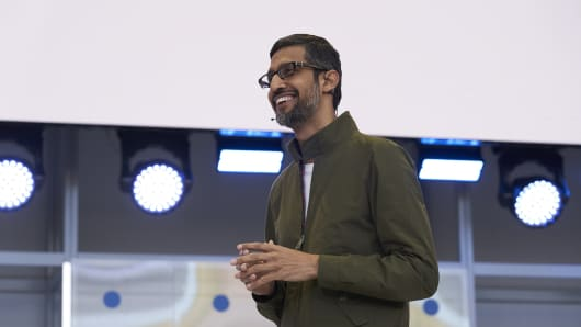 Google CEO Sundar Pichai at the company's 2018 Google I/O event in Mountain View, Calif.