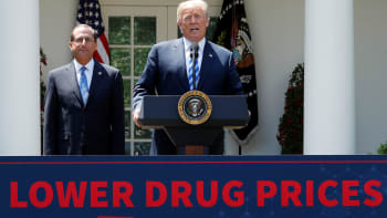 Health and Human Services Secretary Alex Azar listens as U.S. President Donald Trump delivers a speech about lowering prescription drug prices from the Rose Garden at the White House in Washington, U.S., May 11, 2018.