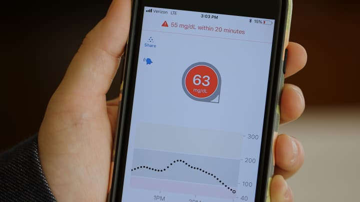 The Urgent Low Soon feature on the Dexcom G6 app.