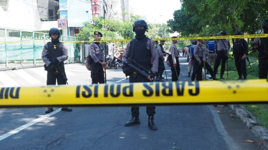 Three suicide bombs exploded in three different churches in Surabaya, Indonesia, on Sunday morning killed at least 9 people and injured 40 others.