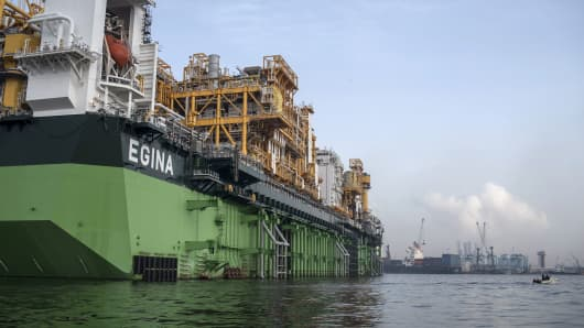 The Egina floating production storage and offloading vessel, the largest of its kind in Nigeria, is berthed in Lagos harbor on February 23, 2017.