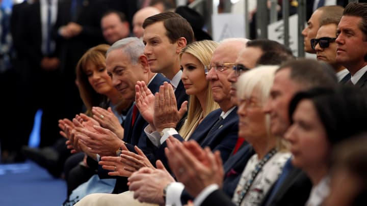 Israeli Prime Minister Benjamin Netanyahu, Senior White House Advisers Jared Kushner and Ivanka Trump and Israeli President Reuven Rivlin applaud during the dedication ceremony of the new U.S. embassy in Jerusalem, May 14, 2018.