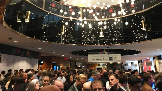 Many attendees had to wait more than an hour to register at CoinDesk's Consensus 2018 conference at the New York Hilton Midtown.