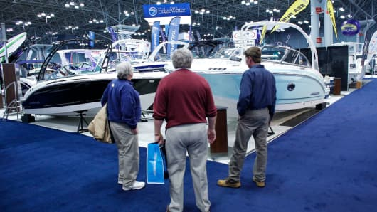 People attend the 2018 Progressive Insurance New York Boat Show cruises into the Jacob K. Javits Convention Center on January 24, 2018 in New York City.