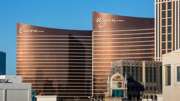 The exterior of The Wynn and Encore Hotels & Casinos are viewed on March 2, 2018 in Las Vegas, Nevada.