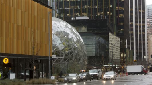 The Amazon Spheres in Seattle, Washington, on Tuesday, January 23, 2018.